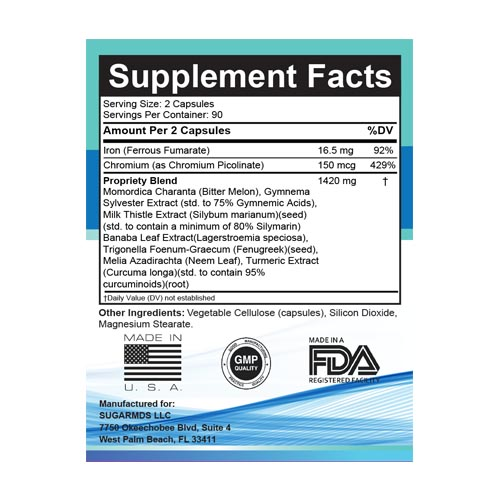 glucose support supplement nutritional facts